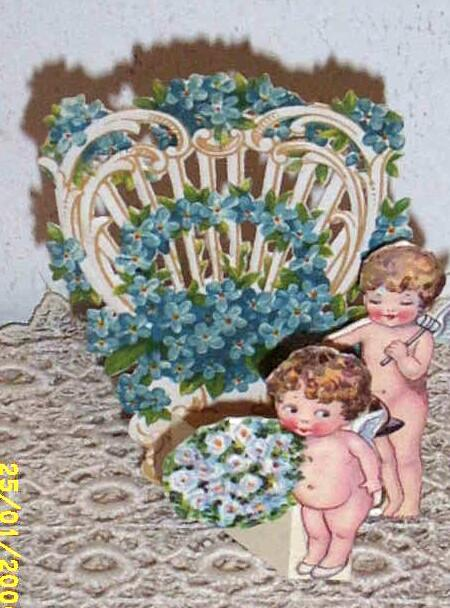Victorian Greeting Card..3-D..Two Cherubs..Valentine Trellis With For-Get-Me-Nots..Die-Cut..Embossed..Germany