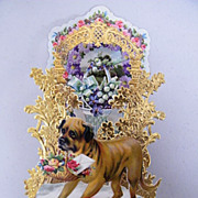 German Victorian  Dog..Light Brown..Pop-Up Greeting Card..Valentine..Die Cut:Gold Foil:Embosse