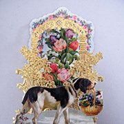 German Victorian Pop-Up Card..Dog With Black & White Spots..Die-Cut & Embossed..NOS