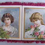 Victorian Silk Fringed BEAUTIFUL LADIES Christmas Cards..Set of 4 Attached..Silk Tassels