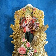 Victorian Valentine Boy Holding Ginger Bread HEART Cookie..German..Die-Cut Embossed..Pop-Up. .