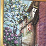 Vintage.. Signed..EP.. Oil Painting Of A White Stucco European House With A Blossoming Tree ..
