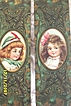 Victorian..Set Boy & Girl Cardboard Box Decoration..Oval Picture On Embossed Paper..Cute!