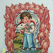 SALE Antique Vintage Valentine..3-D: ..Boy With Tray Of Flowers..Pop_Out: Die-Cut..Embossed..G