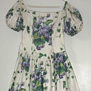 Vintage.. Mother / Sister VIOLET Spray Printed Cotton Dress..Child's Dress Coordinates