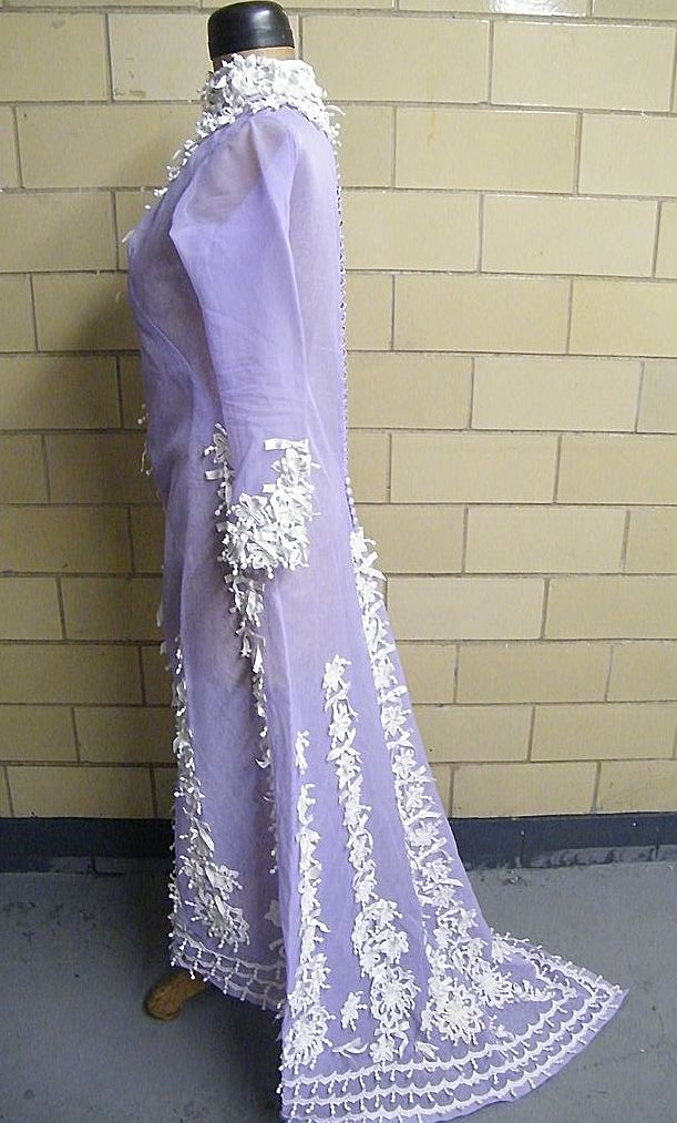 Lavender Dream.. Silk Organza Victorian Style Dress With Short Train & Embroidered Trim..Wedding Or Formal