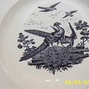Antique...Soup Plates / Bowls..Liverpool Birds..Black Transferware..Wedgwood Etruria:Made In E