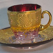 Moser Bohemian Glass Cup And Saucer....