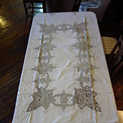 Linen and Lace Table Cloth Circa/1940's...