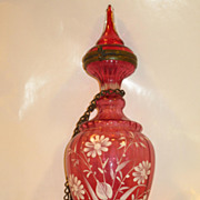 Cranberry Bohemian Glass Perfume Bottle...