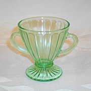 Green Hazel Atlas Ribbon Pattern Sugar Bowl