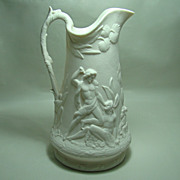 English Relief Molded Parian Pitcher Cain & Abel  Circa: 1850s