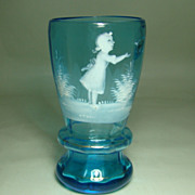 Mary Gregory Blue Tumbler/Vase � Girl at Play