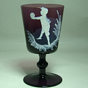 Mary Gregory Amethyst Wine Glass � Boy at Play