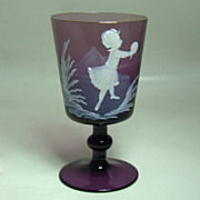 Mary Gregory Amethyst Wine Glass � Girl at Play