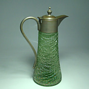 Loetz or Loetz Type Ribbed and Threaded Green Glass Syrup Jug with Pewter Handle and Hinged Li