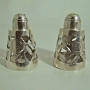 Mexican Salt & Pepper Shakers - Sterling Silver Overlay