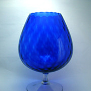 Giant Italian Art Glass Cobalt Blue Snifter Vase   Circa: Mid 1900s