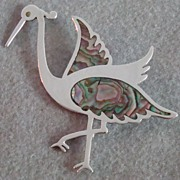 Mexican Sterling Silver Road Runner Pin with Abalone Inlay