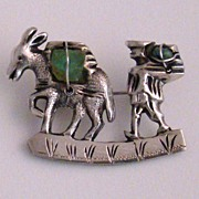Silver Burro and Walker Pin with Emerald Stones