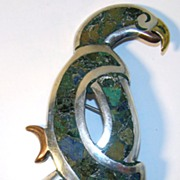 Beautiful Los Ballesteros Sterling Silver Parrot Pin with Mixed Metals, Crushed Turquoise and