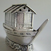 SALE 1890 Sterling Silver Salt or Pepper or Spice Shaker in a Miniature House Boat ...