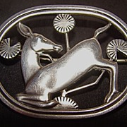 Georg Jensen Art Nouveau Kneeling Deer Sterling Silver Brooch � Design #256