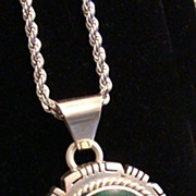 Mexican Sterling Silver Pendant with Malachite Center Stone