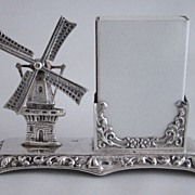Dutch Miniature 830 Silver Windmill Card Holder with Moveable Blades � Herbert Hooijkaas - Net