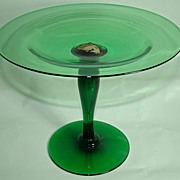 REDUCED Union Glass Company Deep Green Compote with Original Label � Early 1920�s