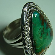 Signed Navajo Sterling Silver Turquoise Ring - Lee Bennett