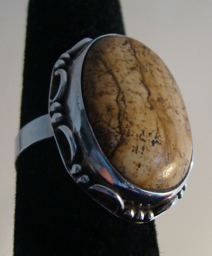 Sterling Silver Ring with Polished Sandstone Setting
