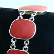 Native American Sterling Silver Bracelet Set with Five Red Coral Stones