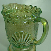 EAPG Iridescent Green Shell and Jewel Cream Pitcher  Westmoreland Specialty Glass C0.   Ci