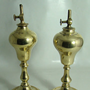 REDUCED Pair of French Brass Whale Oil Lamps  Circa: Mid 1800s