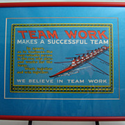 Framed Motivational Card Team Work #47  C. J. Howard, Inc., Chicago Circa: 1925