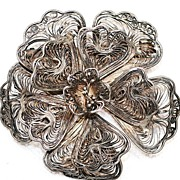 MEXICO Sterling Silver Filigree Brooch Vintage Jewelry