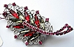 Hobe RED Rhinestone Brooch Huge