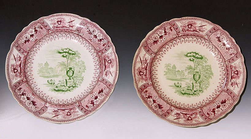 Pair Raspberry Red Transfer Plates - Circa 1826-1838
