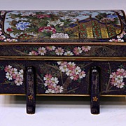 Exquisite Japanese Cloisonne & Porcelain Jewel Casket