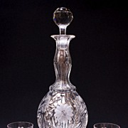 SALE Tall Cut Glass Decanter With Two Matching Whiskey Tumblers
