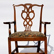 Provincial Chippendale Elm Arm Chair