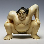 SOLD Japanese Ivory Netsuke Of Sumo Wrestler