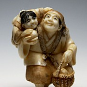 Japanese Ivory Netsuke - Father & Child