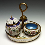 SALE Chinese Cloisonne Condiment Set
