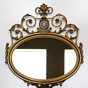 English Adam Style Gilded Mirror With Wedgwood Medallion