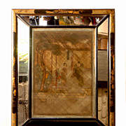 Chinese Glass Straw Art In Chinoiserie Shadow Box