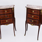 Pair French Louis XV Style Marble Top Rosewood Commodes