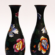 Pair Wedgwood Capri Enamel Basalt Vases