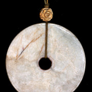 SALE Chinese White Jade Disk With Engraving